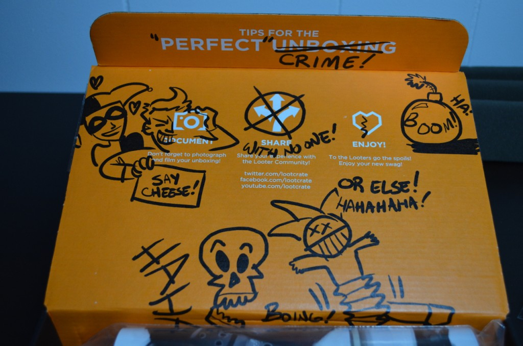 The inside of the crate looks like it's been doodled all over by the Joker!